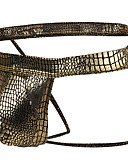 baratos Moda Íntima Exótica para Homens-Homens Básico G-string Underwear - Normal 1 Peça Cintura Baixa Preto Dourado Prata M L XL