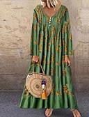 זול שמלות מקסי-מקסי דפוס, פרחוני - שמלה ישרה סגנון רחוב בגדי ריקוד נשים