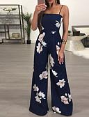 baratos Vestidos de Mulher-Mulheres Básico Azul Marinha Macacão, Floral Estampado S M L