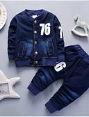 billige Sett med Gutter babyklær-Baby Gutt Grunnleggende Trykt mønster Langermet Normal Tøysett Lyseblå