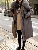 olcso Női hosszú kabátok és parkák-Női Egyszínű Anorák, Poliészter Fekete / Katonai zöld / Szürke S / M / L