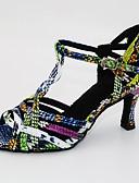 olcso Blúz-Női Dance Shoes PU Latin cipők Magassarkúk Kúpsarok Személyre szabható Piros-Fekete / Fekete / Zöld / Ezüst / fekete / Bőr / Gyakorlat