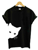 billige T-skjorter til damer-T-skjorte Dame - Ensfarget / Dyr, Lapper Grunnleggende Katt Svart