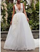 Χαμηλού Κόστους Φορέματα Ξεχωριστών Γεγονότων-Γραμμή Α Λαιμόκοψη V Ουρά μέτριου μήκους Τούλι Κανονικοί ιμάντες Φορέματα γάμου φτιαγμένα στο μέτρο με Που καλύπτει 2020