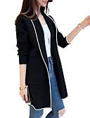 ราคาถูก เมกซิเดรส-สำหรับผู้หญิง ทุกวัน ฤดูหนาว ยาว เสื้อโค้ท, ลายบล็อคสี Rolled collar แขนยาว เส้นใยสังเคราะห์ สีดำ / ทับทิม / สีเทา