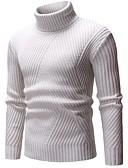 olcso Férfi pólók és kardigánok-Férfi Egyszínű Hosszú ujj Pulóver Pulóver jumper, Körgallér Ősz / Tél Fekete / Bézs / Szürke US32 / UK32 / EU40 / US34 / UK34 / EU42 / US36 / UK36 / EU44