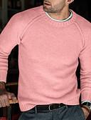 olcso Férfi pólók és kardigánok-Férfi Egyszínű Hosszú ujj Pulóver Pulóver jumper, Kerek Ősz / Tél Fekete / Arcpír rózsaszín / Katonai zöld US34 / UK34 / EU42 / US36 / UK36 / EU44 / US38 / UK38 / EU46