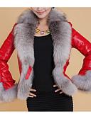 povoljno Stare svjetske nošnje-Žene Dnevno Osnovni Normalne dužine Faux Fur Coat, Jednobojni Odbačenost Dugih rukava Umjetno krzno / PU Crn / Lila-roza / Red