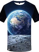 baratos Camisetas Femininas-Homens Camiseta Vintage Estampado, Gráfico Preto e cinza Azul