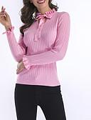 olcso Női pulóverek-Női Egyszínű Hosszú ujj Pulóver Pulóver jumper, Állógallér Tavasz / Ősz Pamut Fekete / Fehér / Arcpír rózsaszín M / L / XL