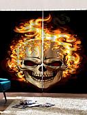 baratos Protetores de Tela para iPhone-estilo tailandês feliz dia das bruxas tema esqueleto flamejante cortinas de fundo espessamento cortina blackout para quarto / sala de estar