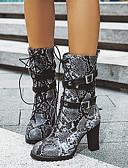 ราคาถูก ถุงเท้าและชุดชั้นใน-สำหรับผู้หญิง บูท ส้นCuban ปลายกลม หัวเข็มขัด PU บู้ทสูงระดับกลาง ไม่เป็นทางการ / minimalism ฤดูใบไม้ร่วง & ฤดูหนาว สีดำ / สีน้ำตาล