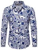 billige Herreskjorter-Skjorte Herre - Blomstret / Fargeblokk, Trykt mønster Chinoiserie / Elegant Blå