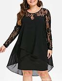 זול שמלות מקסי-א-סימטרי תחרה, אחיד - שמלה שיפון אלגנטית בגדי ריקוד נשים