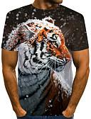 baratos Camisas Masculinas-Homens Camiseta Moda de Rua / Exagerado Estampado, Estampa Colorida / 3D / Animal Tigre Marron