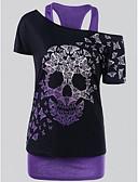 Χαμηλού Κόστους Μπλούζα-Γυναικεία Μεγάλα Μεγέθη Αμάνικη Μπλούζα Βασικό Νεκροκεφαλές Ώμοι Έξω Στάμπα Βυσσινί