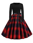 baratos Vestidos de Mulher-Mulheres Elegante Evasê Vestido - Patchwork, Estampa Colorida Altura dos Joelhos