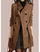 ราคาถูก ผ้าขนสัตว์และขนสัตว์สตรีผสมผสาน-สำหรับผู้หญิง ทุกวัน ฤดูใบไม้ร่วง & ฤดูหนาว ปกติ เสื้อโค้ท, สีพื้น Rolled collar แขนยาว เส้นใยสังเคราะห์ สีน้ำตาล / สีดำ