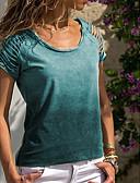 Χαμηλού Κόστους Πουκάμισο-Γυναικεία Μεγάλα Μεγέθη T-shirt Μονόχρωμο Βυσσινί