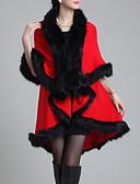 olcso Női szőrme és műszőrme kabátok-Női Napi Szokványos Faux Fur Coat, Egyszínű V-alakú Féhosszú Műszőrme Fekete / Bíbor / Fukszia