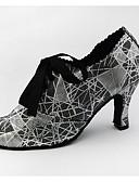 Χαμηλού Κόστους Μπλούζα-Γυναικεία Παπούτσια Χορού PU Παπούτσια τζαζ Τακούνια Κουβανικό Τακούνι Εξατομικευμένο Γκρι Ασημί