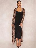 Χαμηλού Κόστους Βραδινά Φορέματα-Γυναικεία Καθημερινά Βασικό Φθινόπωρο Μάξι Kimono Jacket, Φυτά Λαιμόκοψη V Μακρυμάνικο Πολυεστέρας Πούλιες / Δίχτυ Μαύρο / Χρυσό / Φαρδιά
