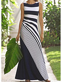 baratos Vestidos de Mulher-Mulheres Elegante Evasê Vestido Listrado Longo
