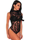 olcso Estélyi ruhák-Női Csipke Body Hálóruha Egyszínű Fekete S M L