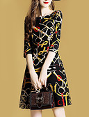 baratos Vestidos-Mulheres Básico Reto Bainha Vestido Geométrica Altura dos Joelhos
