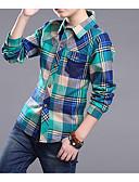 povoljno Kompletići za dječake-Djeca Dječaci Osnovni Houndstooth Kolaž Dugih rukava Majica Plava