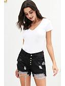 ราคาถูก กางเกงผู้หญิง-สำหรับผู้หญิง พื้นฐาน กางเกงขาสั้น กางเกง - สีพื้น ตัดออก เอวสูง สีดำ สีฟ้า L XL XXL