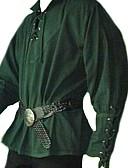 povoljno Stare svjetske nošnje-Srednjovjekovni Renesansa Povorka maski Muškarci Kostim Crn / Lila-roza / Zelen Vintage Cosplay Party / Top / Top
