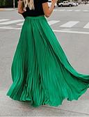 olcso Női szoknyák-Női Hinta Maxi Szoknyák - Egyszínű Pliszé Fekete Fehér Arcpír rózsaszín S M L