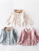 povoljno Džemperi i kardigani za bebe-Dijete Djevojčice Aktivan / Ulični šik Crna / Bijela Kolaž S izrezom Dugih rukava Džemper i kardigan Blushing Pink