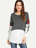 cheap Women's Shirts-Women's Daily Basic Shirt - Floral / Color Block Patchwork / Embroidered Blue
