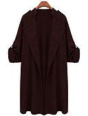 ราคาถูก โค้ท & เทรนช์โค้ทผู้หญิง-สำหรับผู้หญิง ทุกวัน พื้นฐาน ฤดูใบไม้ร่วง & ฤดูหนาว ยาว เสื้อคลุมยาว, สีพื้น Straight Collar แขนยาว เส้นใยสังเคราะห์ ไวน์ / สีกากี / เทาอ่อน