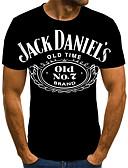 billige T-skjorter og singleter til herrer-T-skjorte Herre - Geometrisk / 3D / Bokstaver, Flettet / Trykt mønster Gatemote Svart