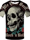 baratos Camisetas & Regatas Masculinas-Homens Camiseta Vintage Estampado, Caveiras Preto & Branco Preto