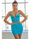 זול שמלות מיני-פרפר לבן כחול מעל הברך גב חשוף, אחיד - שמלה גזרת A צינור נדן סגנון רחוב בגדי ריקוד נשים
