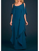 olcso Örömanya ruhák-Szűk szabású Scoop nyak Földig érő Sifon Örömanya ruha val vel Cakkos / Fodrozott által LAN TING Express