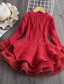זול שמלות לבנות-שמלה שרוול ארוך טלאים בנות ילדים / פעוטות
