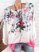 cheap Women's Blouses-Women's Daily Basic T-shirt - Floral Print Blushing Pink