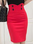 Χαμηλού Κόστους Μπικίνι-Γυναικεία Μολύβι Βασικό Φούστες - Μονόχρωμο Μαύρο Ρουμπίνι Τ M L
