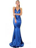 Χαμηλού Κόστους Φορέματα NYE-Τρομπέτα / Γοργόνα Βυθίζοντας το λαιμό Ουρά Πολυεστέρας Επίσημο Βραδινό Φόρεμα με Χιαστί / Πιασίματα με LAN TING Express