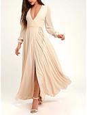povoljno Print Dresses-A-kroj V izrez Do poda Šifon Formalna večer Haljina s Gumbi / Prednji izrez po LAN TING Express