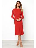olcso Női ruhák-Női Alap Egyenes Ruha Egyszínű Midi Fekete Piros
