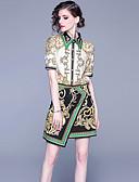 billige Todelt dress til damer-Dame Vintage / Sofistikert Sett Skjørt - Lapper / Trykt mønster, Ruter