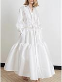 baratos Vestidos de Mulher-Mulheres Bainha Camisa Vestido Sólido Longo