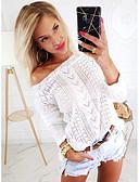 povoljno Ženski džemperi-Žene Jednobojni Dugih rukava Pullover, Na jedno rame Crn / Obala / Bež S / M / L