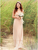 זול שמלות נשף-גזרת A צווארון V עד הריצפה שיפון גב יפהפייה שמלה עם סרט על ידי LAN TING Express